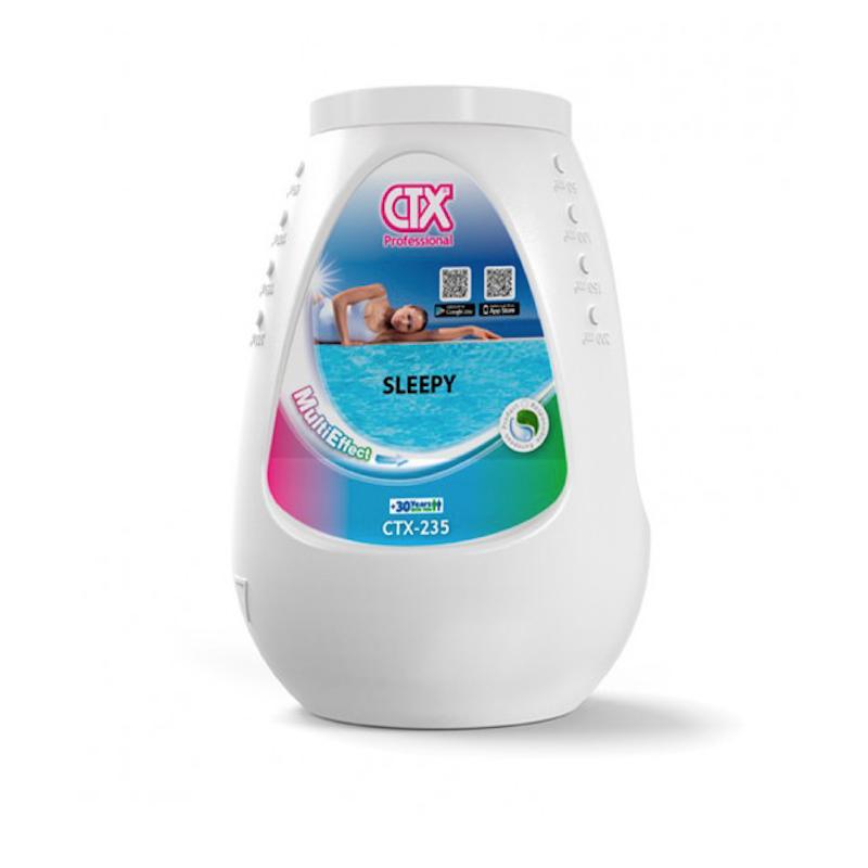 Invernador con dosificador flotante Sleepy CTX-235. Acción desinfectante del agua, función clarificante y floculante y función algicida. Piscinas Technipool. Camas - Sevillla
